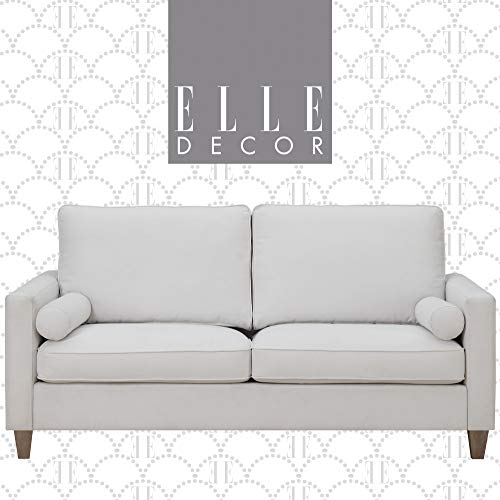 Elle Decor Porter Upholstered Loveseat Sofa, Contemporary Track Arm Living Room Couch for Small Space, Natural Wood Finish Legs, French Cream, 75""