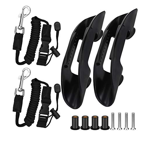 Yotako 4 Pieces Kayak Paddle Holder Kayak Adjustable Safety Paddle Leashes and Deck Mounted Clips (Incuding Screws) with Hardwre Universal Kayak Accessories