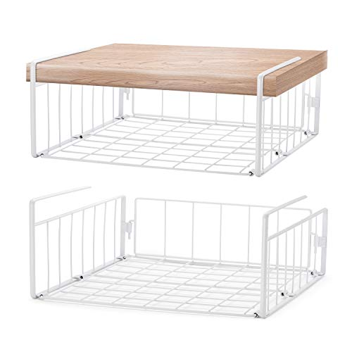 SimpleTrending Under Cabinet Organizer Shelf 2 Pack Wire Rack Hanging Storage Baskets for Kitchen Pantry White