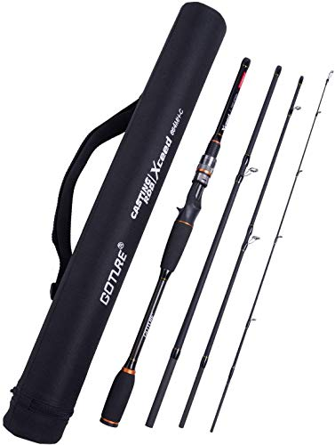 Goture baitcasting Rod 4 Piece Casting Spinning Fishing Rods Portable 4 pc Lightweight Carbon Fiber Poles M Power MF Action 8ft