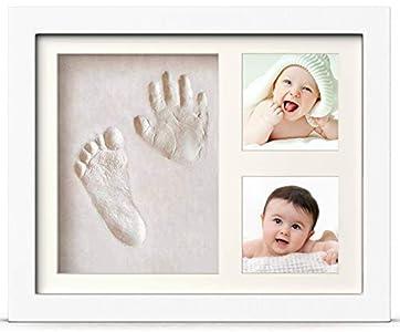 PewinGo- Kit de Marco Para Manos y Huellas de bebé para niño y niña - marcos de arcilla y madera - No se agrieta al secar