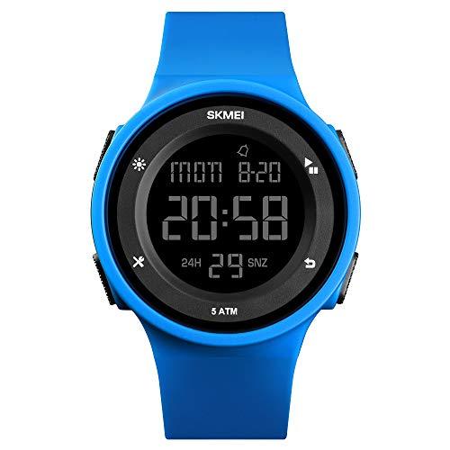 FeIWen Multifuncional Relojes de Mujer y Hombre 50M Impermeable Outdoor Digitales Deportivo Reloj de Pulsera Plástico Bisel con Goma Correa (Azul)