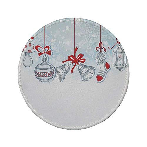 Rutschfreies Gummi-rundes Mauspad, Weihnachtsdekoration, berühmte Socken im Retro-Stil für Spielzeug- und Süßigkeitenglocken und Schneeflockengrafik, Weißrot, 7,87 'x 7,87' x 3 mm