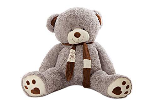MyTeddyWorld Grau 180 cm Martin Großer Teddybär - Kuschelig Stofftier Riesen Plüschbär - Weiches Spielzeug Geschenk für Kinder - Perfekt für Geburtstag Hochzeit Valentinstag Weihnachten