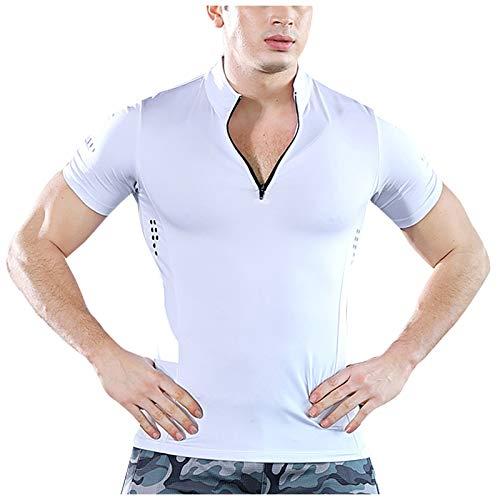 Camiseta de Manga Corta para Hombre, de Secado RáPido, Transpirable, con Cremallera, con Cuello Levantado