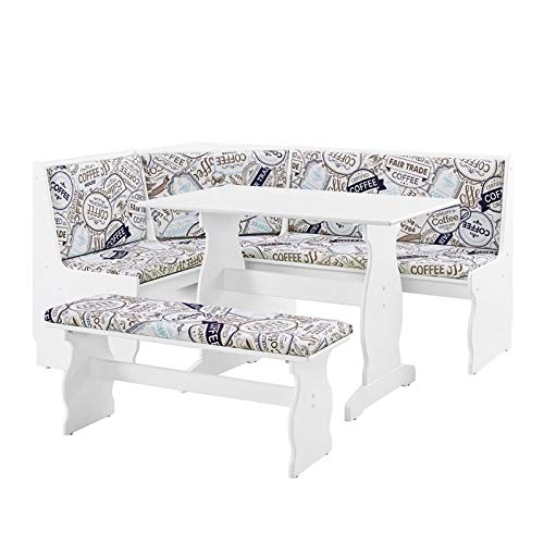 Riverbay Kitchen Breakfast Corner Nook Table Booth Bench Set in White