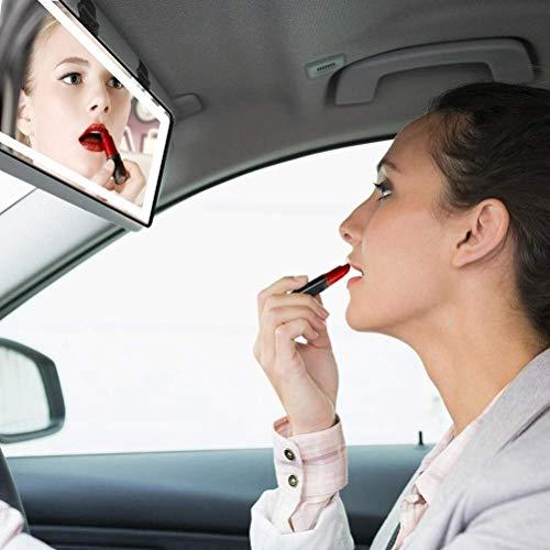 Espejo Maquillaje Coche,espejo universal con 60 luces LED,3 modos de iluminación Sensor táctil USB recargable Visera Espejo Retrovisor Interior Coche