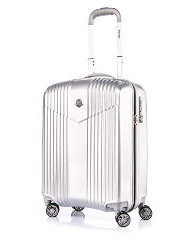 Verage V-LITE Reisekoffer Ultraleicht Ab 1,9kg Hartschale 4 Doppel-Räder TSA Schloss Handgepäck-Trolley S-19-55cm (37L) Silber Carry-on Bordkoffer