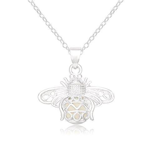 SENFAI Creative Designed Lovely Luminous Firefly Pendant Necklace for Women Girls (Blue)