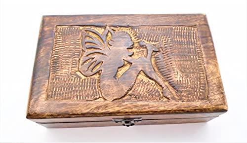 Caja de hadas.Grande Caja de madera hecha a mano, diseño de Hada, caja de cuento de Fariy. 21cm x 13cm x 6cm