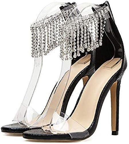 LiXiZhong Frauen High Heel Transparente Strass Stiletto High Heel Sandalen Abendschuhe (Farbe   Schwarz Größe   40 EU)
