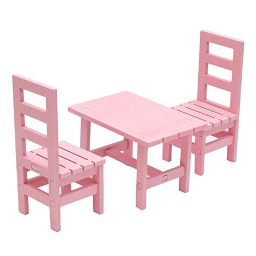 Homyl 1:6 Puppenhaus Miniatur Esstisch Stühle Set Küchenmöbel Puppenstube Zubehör - Pink