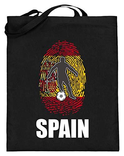 Camiseta del mundial de España de Rusia 2018, para fans españoles, fútbol, huellas dactilares, diseño nacional, bolsa de yute (con asas largas), color Negro, talla 38cm-42cm
