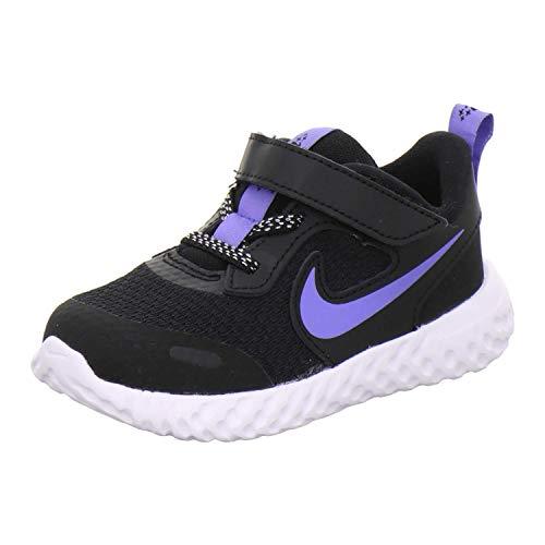 Nike Revolution 5(TDV) Zapatillas de deporte para niños con velcro, talla 27, color negro