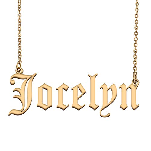 GR859C Unique Lowercase Script Name Necklace Jennifer in Gold Silver