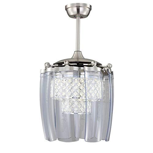 Cristal moderno plegable ventilador de techo lámpara moda ventilador de techo invisible con luz LED Minimalista Mute control remoto (Color : A, tamaño : 48 inch wall control)
