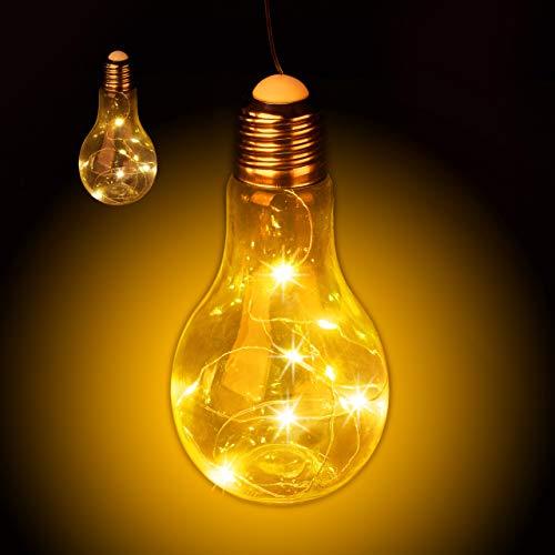 Relaxdays 2 x Deko Glühbirne LED zum Hängen, batteriebetriebene LED-Deko, kabellose Glühlampe mit Lichterkette, transparent