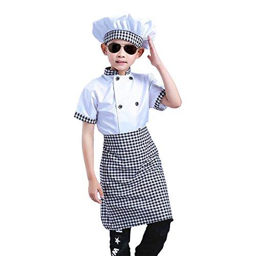 TopTie ni?o Blanco de Manga Larga/Corta Chaqueta de Chef con Mangas, Delantal y Sombrero Corto sleeve-10/12
