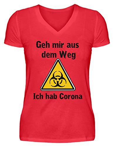 GEH Mir aus dem Weg - ich hab Corona | Coronavirus Corona-Virus - V-Neck Damenshirt -XXL-Kaiserliches Rot