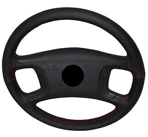 AERZETIX–Lenkradbezug Lenkradhülle Lenkradschoner für Nähen Lenkradhülle Echtes Leder schwarz Farbe: rot Nähten. Größe: M