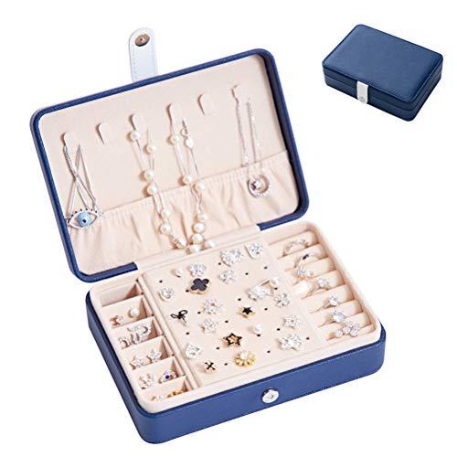 HKHJ Caja Joyero Pequeña para Mujer, Portátil Viaje Cajas para Joyas con Tabique Extraíble, PU Cuero Organizador de Joyas para Anillos Aretes Pulseras Collares Pendientes,Navy Blue