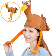 One Size Funny Thanksgiving Turkey/Gobbler Hat features a Plush Brown Full Bodied Turkey Hat with Long Yellow Legs Hanging Down and Long Neck. Made of Durable 100% Polyester Fabric, Cotton Blend. Superior Quality, Highly Recommend Hand Wash, One Size...