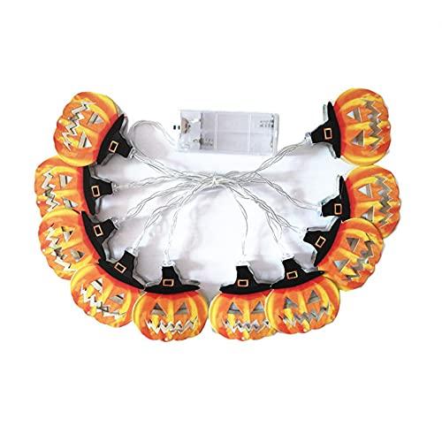 Luces de Halloween Imprescindible Fantasma Decoración de Fiest Luz Decorativa Cara Divertida LED Cadena de Luz-65 Inch 10 Inch