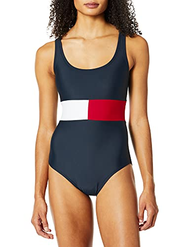 Tommy Hilfiger Women's Standard Iconic One Piece Swimsuit, Navy, Large