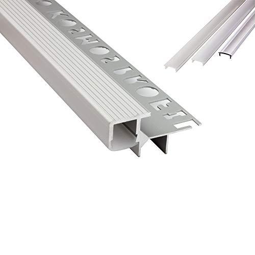 T-40 LED Alu Fliesenprofil Treppenprofil Stufen 12mm silber + Abdeckung Abschlussleiste Fliesen für LED-Streifen-Strip 2m opal