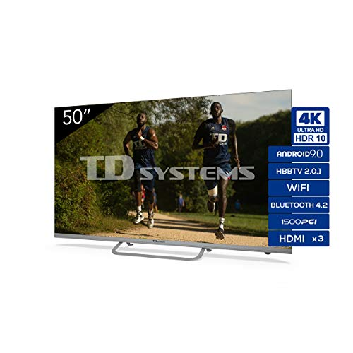 "TD Systems K50Dlx11Us - Televisor Smart TV 50"", 4K Android 9.0 y Hbbtv, 1500 Pci Hz Uhd Hdr, 3X Hdmi, 2X Usb. Dvb-T2/C/S2, Modo Hotel, Negro"