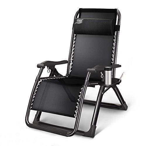 WJXBoos Sillones de jardín y de jardín para Exterior Sillón reclinable de Gravedad Cero Sillas de Patio Silla de Camping Plegable portátil de Playa Plegable (Color: Negro)