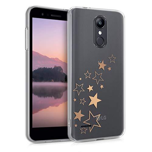 kwmobile Hülle kompatibel mit LG K8 (2018) / K9 - Hülle Handy - Handyhülle Sternenmix Rosegold Transparent