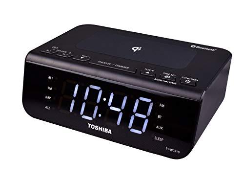 Toshiba Despertador dual Bluetooth con radio Qi carga inalámbrica TY-WCR10