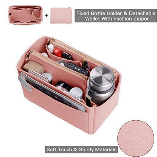 Purse Organizer, Felt Bag Organizer Insert For Speedy, Neverfull, Tote, Handbag, 6 Colors 3 Sizes (Large, Brush Pink)