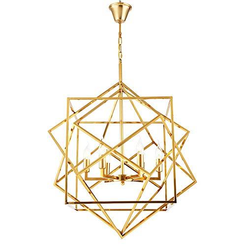 Iluminación colgante Elegante de la lámpara de la lámpara, Techo Techo suspendido moderna iluminación ajustable de la manera luces pendientes, final del oro for 6 E27 Bombillas for sala de estar, dorm