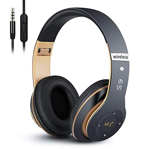 6S Wireless Bluetooth Headphones Over Ear, Hi-Fi Stereo Foldable Wireless Stereo Headsets Earbuds with Built-in Mic, Volume Control, FM for Phone/PC (Black & Gold)