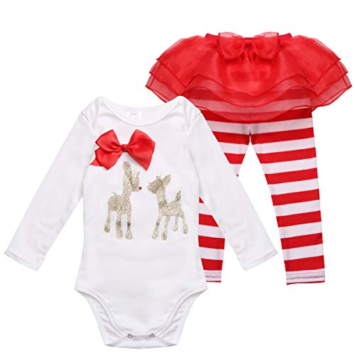 ranrann Baby Girls Long Sleeves Christmas Costume Princess Reindeer Romper Striped Pants Tutu Outfits for Holiday Party White&Red 3 Months