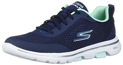 Skechers Go Walk 5, Zapatillas Mujer, Azul (Navy Textile/Aqua Trim Nvaq), 38 EU
