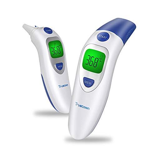 Trustown Medizinisches Stirn und Ohrthermometer, Digitales Infrarot Thermometer 4 in 1 Multifunktion, Dreifarbiger Fieberalarm, Ideal Für Baby, Kind, Erwachsene