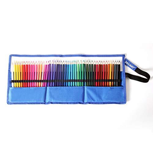 MONLEYTA 48 Ranuras para lápices de Colores, Bolsa Enrollable, Estuche para Dibujo, Estuche para lápices para Colorear, Azul