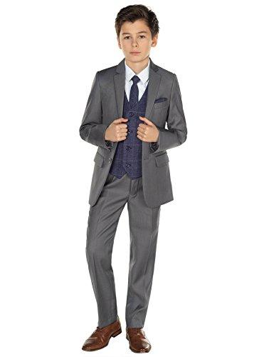 Paisley of London, Grauer Anzug für Jungen, Page Boy, marineblaue Weste, 1–14 Jahre Gr. 8 Jahre, grau