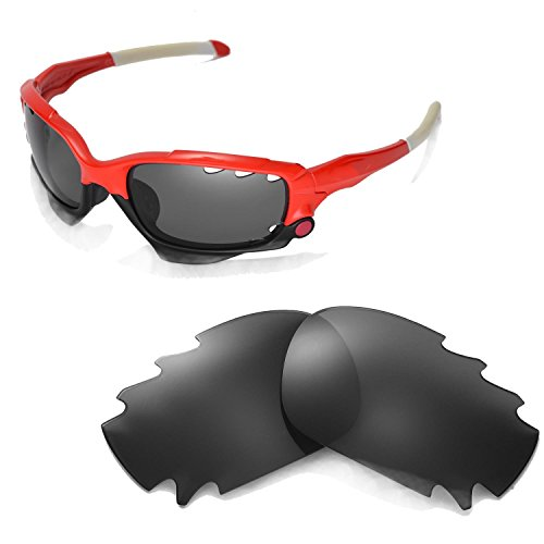 Walleva Vented Ersatzgläser für Oakley Racing Jacket Sonnenbrille - Mehrfache Optionen (Schwarz - polarisiert)