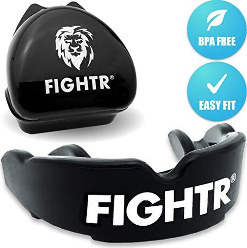 FIGHTR Premium Mundschutz | max.Sauerstoff und Sicherheit + Easy fit | BPA freier Zahnschutz inkl. Box | Boxen, MMA, Muay Thai (All Black)