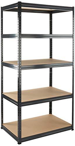 Hans Schourup 13501050 rek voor zware lasten met 5 planken van MDF, draagvermogen tot 350 kg per plank, 180 cm x 90 cm x 60 cm, grijs