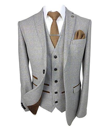 Paul Andrew Mens Tailored Fit Retro Tweed Suits in Cream Size 44R UK/US - 54R EU Jacket, 38R Trousers