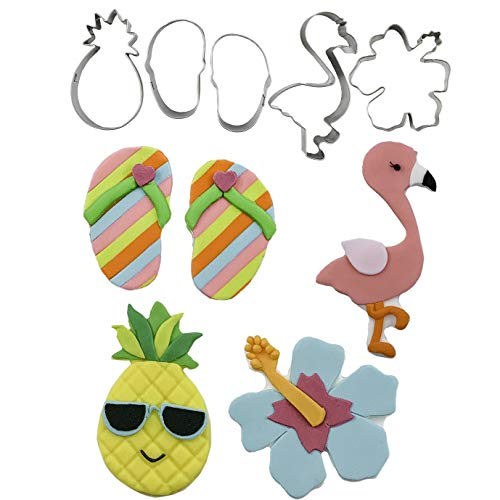 Tropical, Luau, Hibiscus Flower, Pineapple, Flamingo, Flip Flops Cutie Cupcake Mini Cookie Cutters by Autumn Carpenter for Cookies, Fondant, or Gum Paste