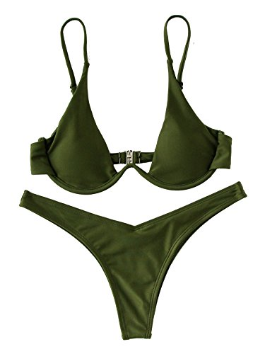 Verdusa Women's Sexy Triangle Bathing Two Pieces Swimsuit Bikini Set Green L
