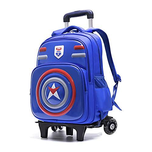 Night K Mochila con ruedas para niños y niñas, impermeable, extraíble, mochila escolar de gran capacidad, A-29 x 18 x 42 cm