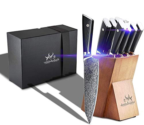 Knife Block Set 9 Pcs Japanese AUS-10 Damascus Steel Chefs