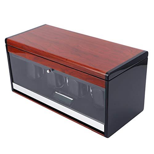 Enrollador de Reloj automático para 4 Relojes, Caja de presentación de Reloj con 4 Espacios adicionales para Guardar Relojes, iluminación LED, Acabado de Piano de Carcasa de Madera(Enchufe de la UE)